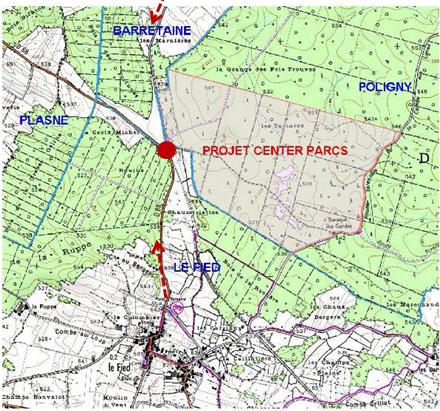 Le plan du projet Center Parcs à Poligny